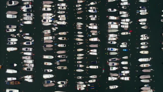 aerial dolly shot directly above a large marina, hong kong - symmetry stock videos & royalty-free footage