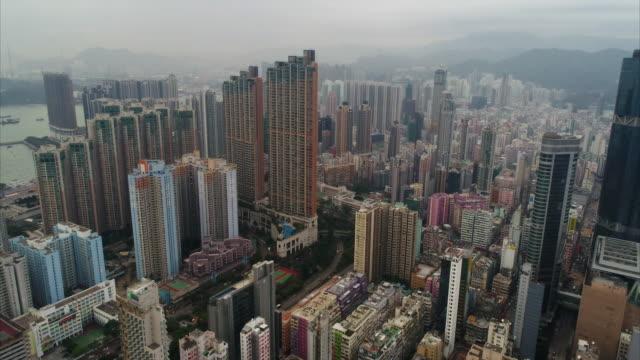 vídeos de stock, filmes e b-roll de aerial dolly shot showing yau ma tei, mong kok, hong kong - mong kok