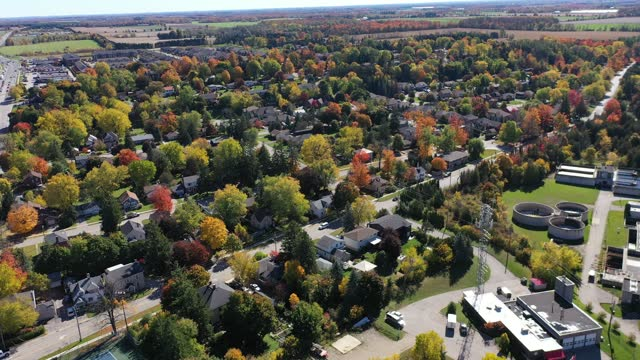 aerial downtown fergus in wellington county, ontario, canada - street name sign stock videos & royalty-free footage