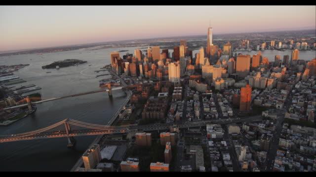 Aerial Downtown Manhattan Sunset
