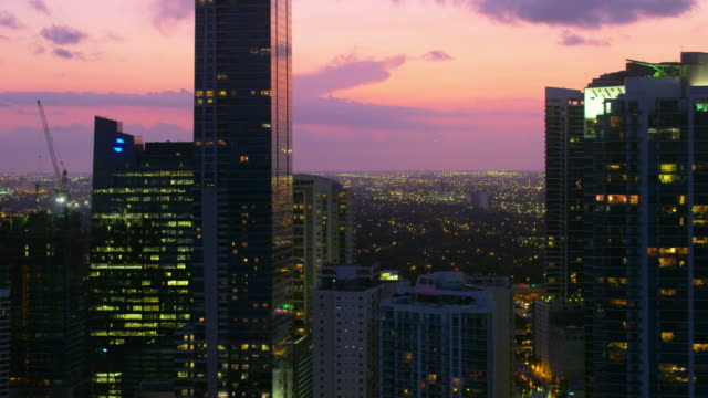 Aerial downtown Miami at sunset