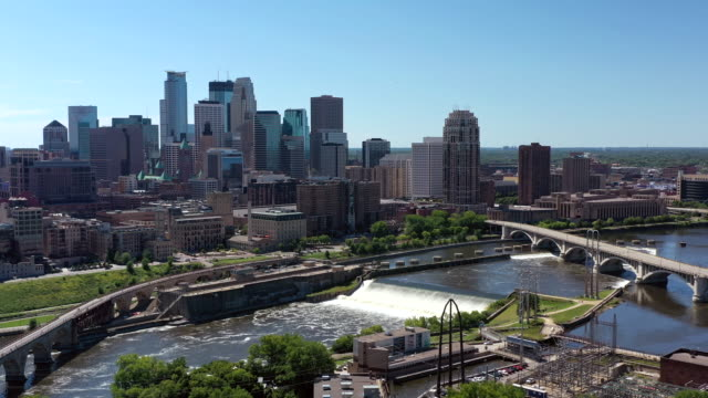 aerial downtown minneapolis - minnesota stock videos & royalty-free footage