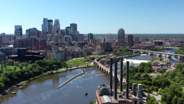aerial downtown minneapolis - river mississippi stock videos & royalty-free footage