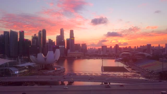 aerial downtown singapore at dusk - singapore stock videos & royalty-free footage