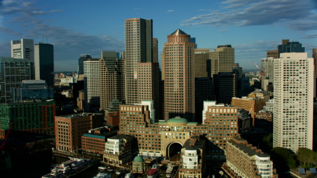 aerial downtown view city skyscrapers boston harbor america - massachusetts stock videos & royalty-free footage
