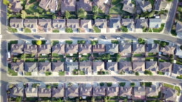 Aerial Downward looking view of a residential neighborhood