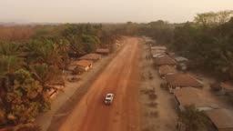 Aerial drive through African Village