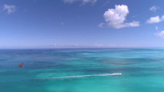 Aerial Drone 4k slow motion view of parasailing on perfect day in the Caribbean