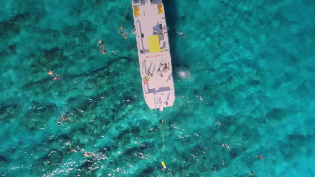 Aerial Drone 4k view of people snorkeling in perfect blue water