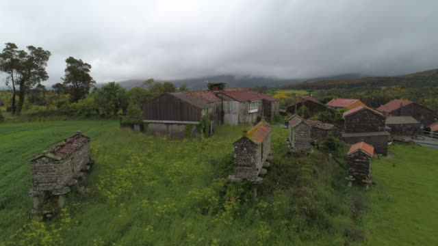 aerial: drone ascending over houses and traditional barns amidst green plants in village against cloudy sky - galicia, spain - galicia stock videos & royalty-free footage