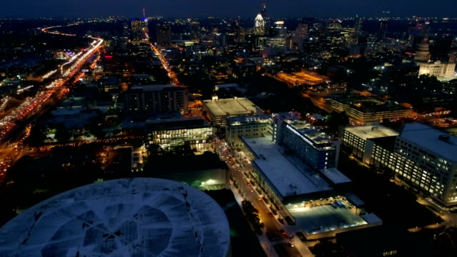 Aerial Drone at Night above City of Austin , Texas, USA