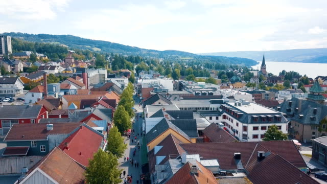 aerial drone/ city of lillehammer in norway - town stock videos & royalty-free footage