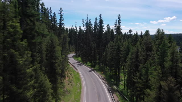vídeos de stock e filmes b-roll de aerial drone establishing shot following a roadway through glacier national park in montana - aerial or drone pov or scenics or nature or cityscape