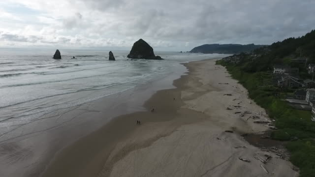 aerial drone establishing shot of cannon beach and haystack rock sea stack. - cannon beach stock videos & royalty-free footage