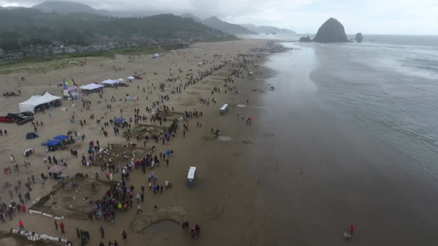 vídeos de stock, filmes e b-roll de aerial drone establishing shot of oregon sandcastle contest crowd gathering around sandcastles on coastline of cannon beach. - costa de oregon