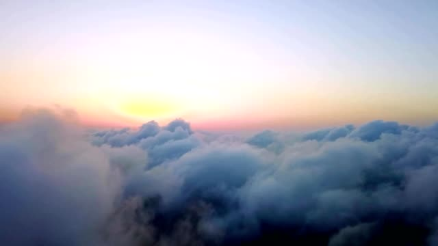 aerial drone flight above clouds during a sunrise in murfreesboro tennessee - tennessee video stock e b–roll