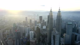 Aerial drone footage at Kuala Lumpur city skyline