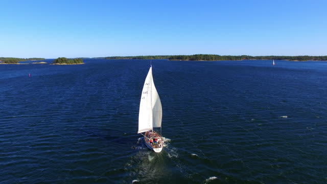 Aerial Drone Footage of a Boat Sailing in Stockholm, Sweden on a Summer Afternoon