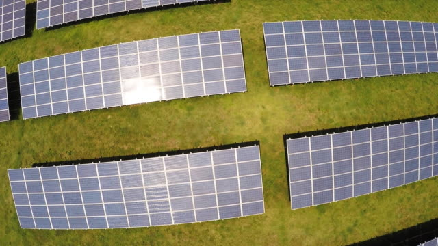 Aerial drone footage of a solar farm in the southern United States.