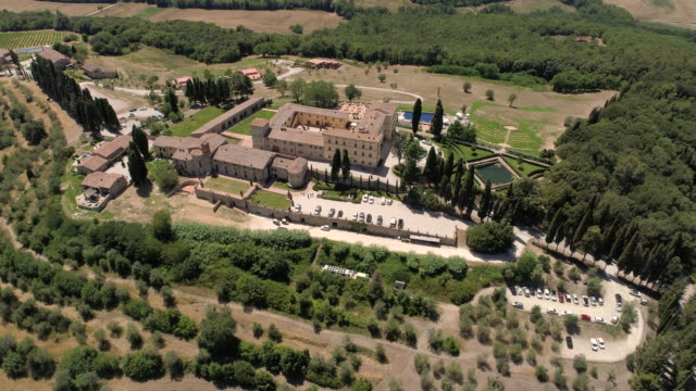 Aerial drone footage of Casole Castle