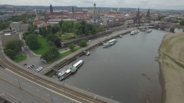 aerial drone footage of cityscape - dresden germany stock videos & royalty-free footage