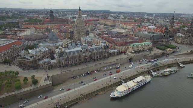 aerial drone footage of historic buildings and cityscape - altstadt stock-videos und b-roll-filmmaterial