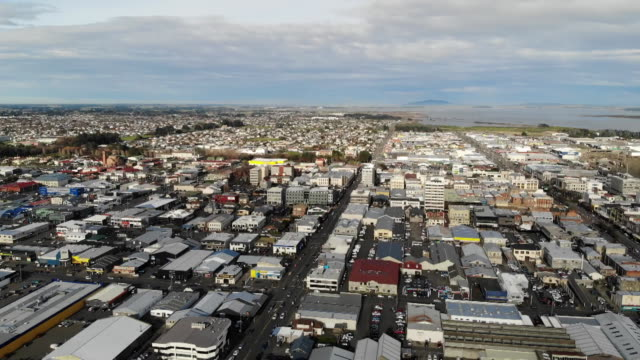 aerial drone footage of invercargill city - general view stock videos & royalty-free footage