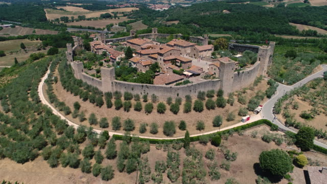 aerial drone footage of monteriggioni town - florence italy stock videos and b-roll footage