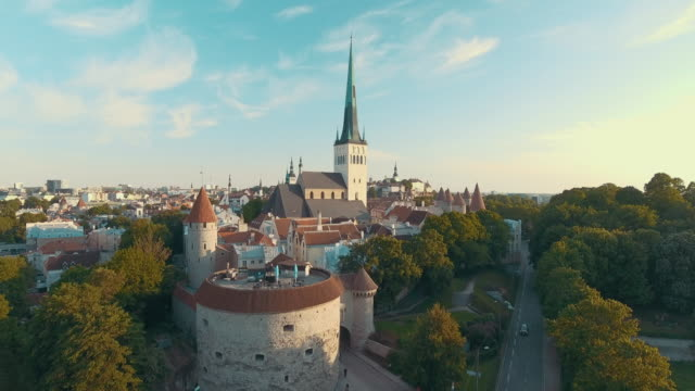 aerial drone footage of tallinn old town - church stock videos & royalty-free footage