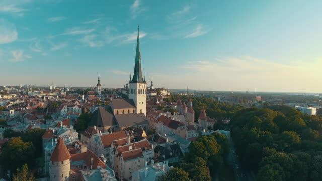 aerial drone footage of tallinn old town - estonia stock videos & royalty-free footage