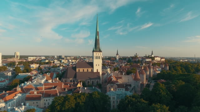 aerial drone footage of tallinn old town - old town stock videos & royalty-free footage