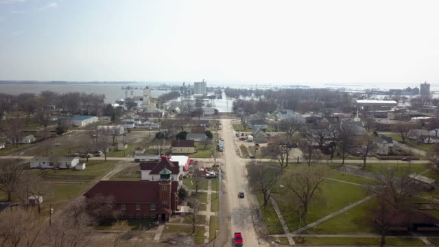 aerial drone footage of the flooding and devastation in and around hamburg iowa - iowa stock videos & royalty-free footage