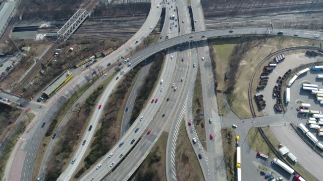 Aerial drone footage of vehicles moving on highways, Berlin, Germany