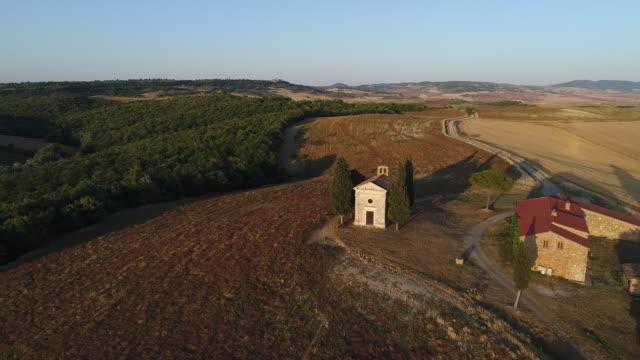 Aerial drone footage of Vitaleta chapel