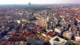 Aerial drone footage view of cathedral dome in Milan italy