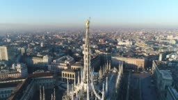 Aerial drone footage view of cathedral Duomo in Milan