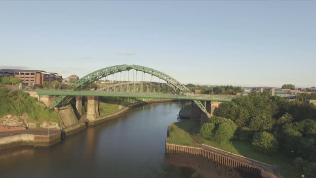 Aerial Drone Footage Wearmouth bridge in Sunderland on August 10 2016 in Sunderland England