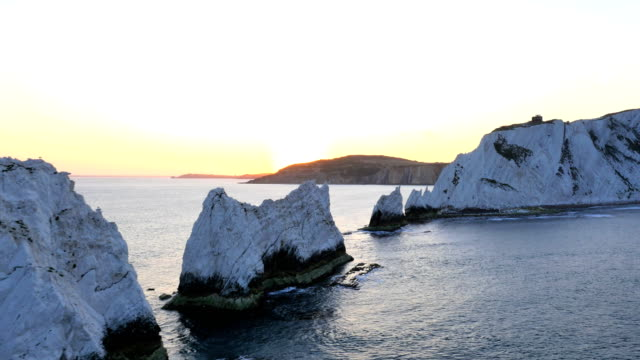 aerial drone isle of wight needles alum bay - english channel stock videos and b-roll footage