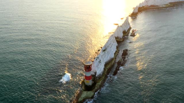 Aerial Drone Isle of Wight Needles Alum Bay