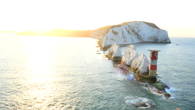 aerial drone isle of wight needles alum bay - isle of wight stock videos & royalty-free footage