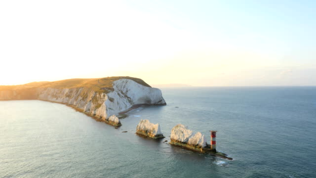 aerial drone isle of wight needles coastline channel - isle of wight stock videos & royalty-free footage