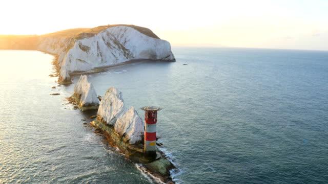 Aerial Drone Isle of Wight Needles coastline Channel
