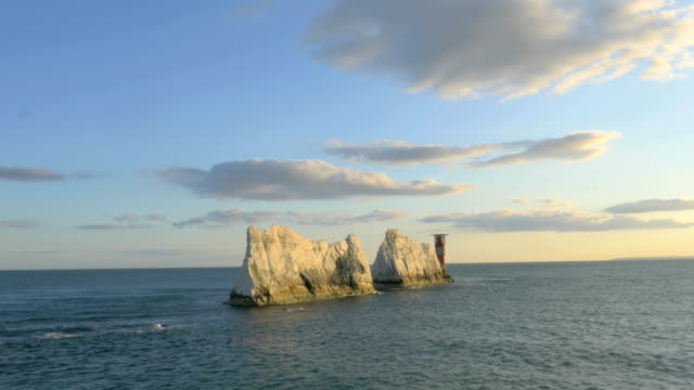 aerial drone isle of wight needles coastline channel - national trust video stock e b–roll