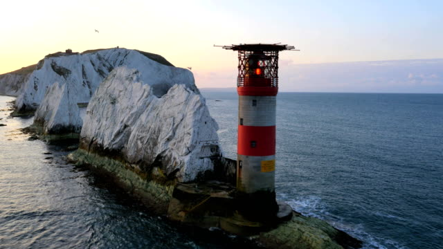 aerial drone isle of wight needles uk lighthouse - isle of wight stock videos & royalty-free footage