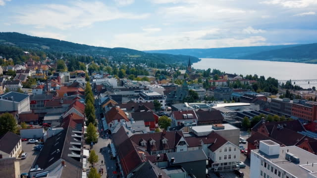 aerial drone/ lillehammer cityscape, norway - biathlon stock videos and b-roll footage