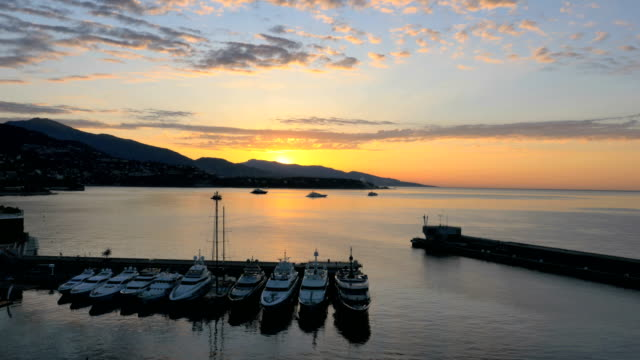 aerial drone monte carlo sunset europe yacht travel - aerial transport building stock videos & royalty-free footage