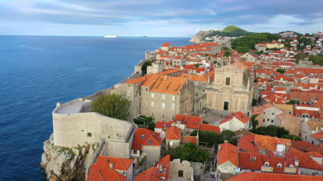 aerial drone movie sunrise scene of dubrovnik old city  in the mediterranean sea, southern croatia.  dubrovnik joined the unesco list of world heritage sites. - old town stock videos & royalty-free footage