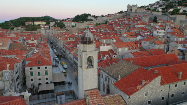 aerial drone movie sunrise scene of dubrovnik old city  in the mediterranean sea, southern croatia.  dubrovnik joined the unesco list of world heritage sites. - croazia video stock e b–roll