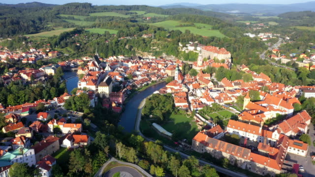aerial drone movie sunrise scene old town of cesky krumlov,  south bohemia, czech republic - traditionally czech stock videos & royalty-free footage