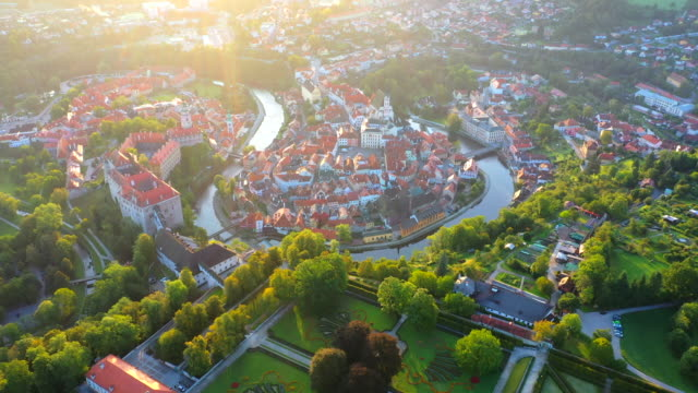 aerial drone movie sunrise scene old town of cesky krumlov,  south bohemia, czech republic - eastern european culture stock videos & royalty-free footage
